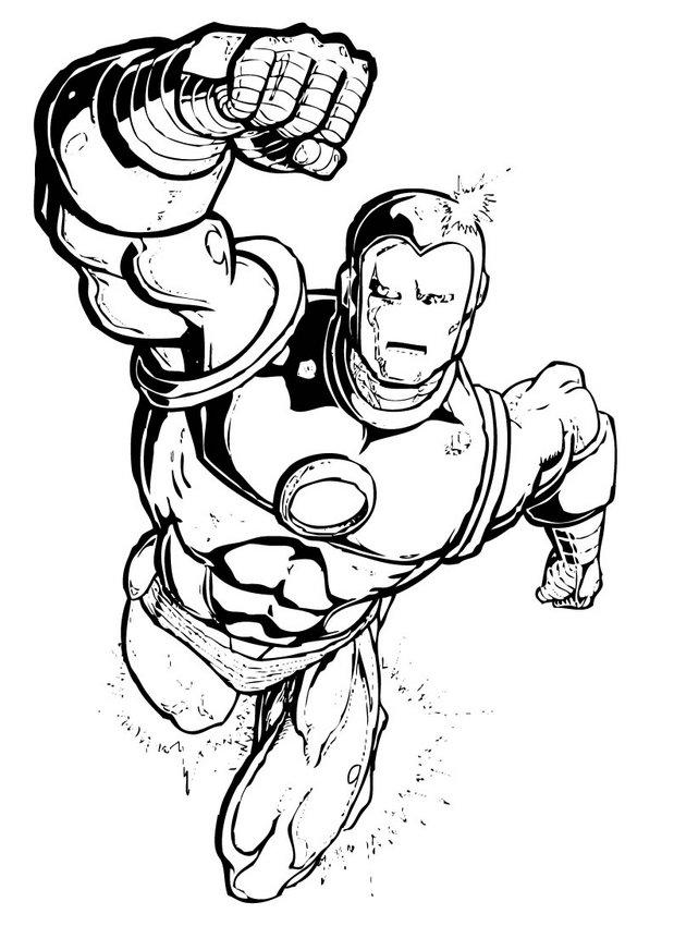 Desenho do Homem de Ferro voando para colorir