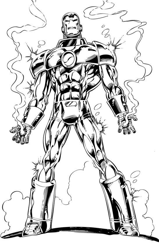 Desenho do Homem de Ferro vestindo sua melhor armadura para colorir
