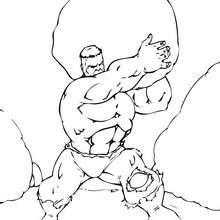 O Hulk com uma rocha