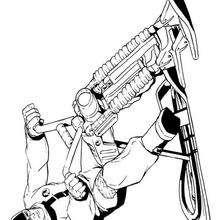 Desenho do Comando em Ação na sua bicicleta de neve