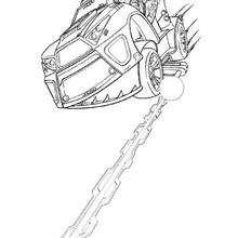 Desenho do Falcon Atom com um carro eletrônico para colorir