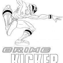 Desenho do Power Ranger lutando contra o crime para colorir