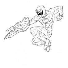 O ninja atirando e pulando