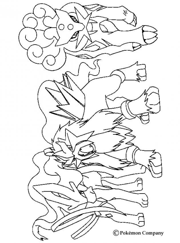 desenhos para colorir de desenho de três pokémons lendários para