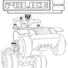 Desenho de um Power Ranger no seu quadriciclo para colorir