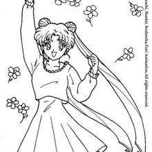 Serena e flores para colorir