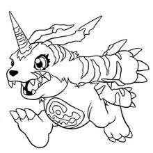 Desenho para colorir do Digimon Gabumon