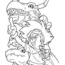 Desenho do digimon dinossauro Greymon com o Tai para colorir