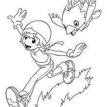Desenho para colorir da Sora brincando com o  Biyomon