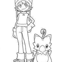 Desenho da Sora com um digimon para colorir