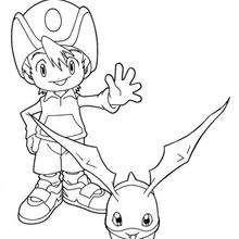 Desenho para colorir do TK com o Patamon
