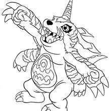 Desenho do digimon Gabumon na gargalhada para colorir