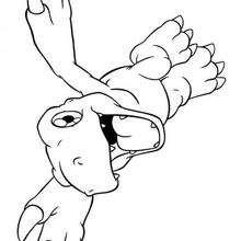 Desenho para colorir do Agumon voando
