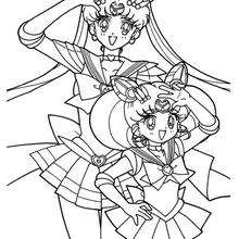 Desenho de Sailor Moon acenando para colorir