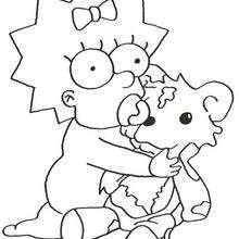 Maggie com seu ursinho de pelúcia