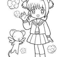 Sakura com o seu uniforme e com o Kero