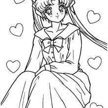 Sailor Moon com um longo vestido
