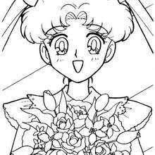 Sailor Moon com um buquê de flores