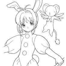 Sakura de coelho com o Kero
