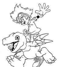 Desenho para colorir online do Tai com o Agumon