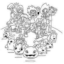 Todos os heróis Digimon para colorir