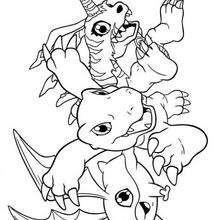 Desenho para colorir do Agumon  com seus amigos