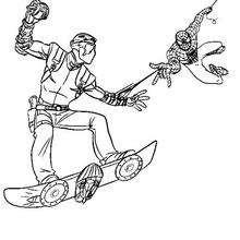 O Homem-Aranha pegando Harry Osborn, o novo Duende