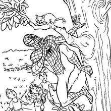 O Homem-Aranha salvando um gatinho