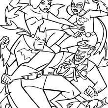 Batman lutando contra seus inimigos