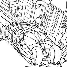 Desenho do carro do Batman na cidade para colorir