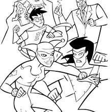 Desenho de Criminosos lutando juntos para colorir