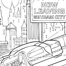 O batmóvel na cidade de Gotham
