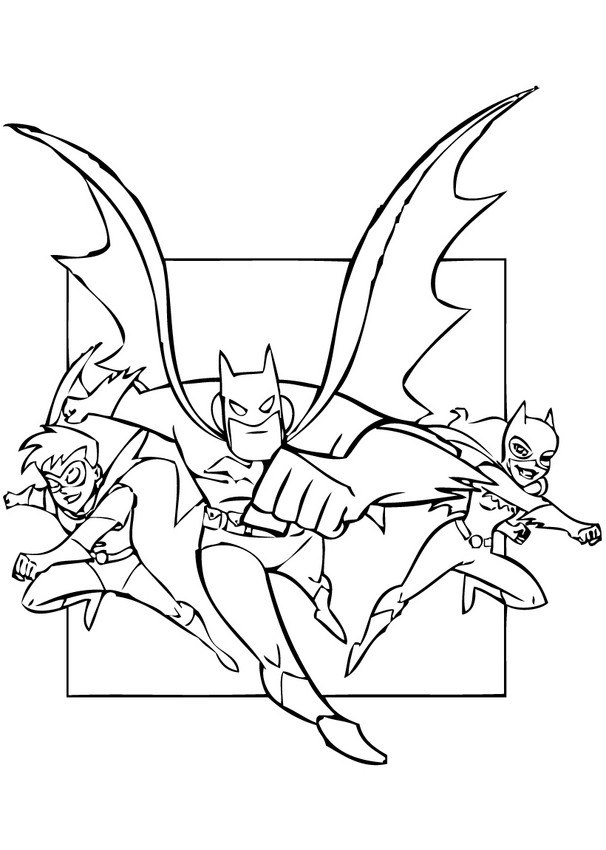 Desenhos Para Colorir De Os Super Herois Batman Robin E Batgirl