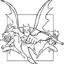 Os super-heróis: Batman, Robin e Batgirl