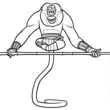 Desenho do Mestre Macaco fazendo ioga para colorir