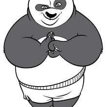 O Panda Po feliz, o lutador de Kung Fu