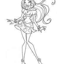 Desenho da Flora vestindo uma saia com morangos para colorir