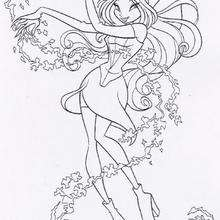 Desenho da Flora, do Clube das Winx para colorir