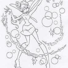 Desenho da Musa fazendo bolhas para pintar