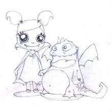 Desenho de um dragão com uma vampirinha para colorir