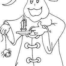 Desenho de um fantasma com uma vela para colorir