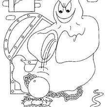 Desenho de fantasmas com instrumentos de tortura para colorir