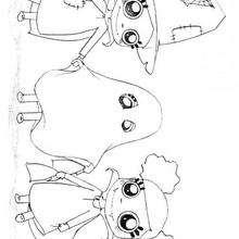 Desenho de fantasmas e Bruxas para colorir