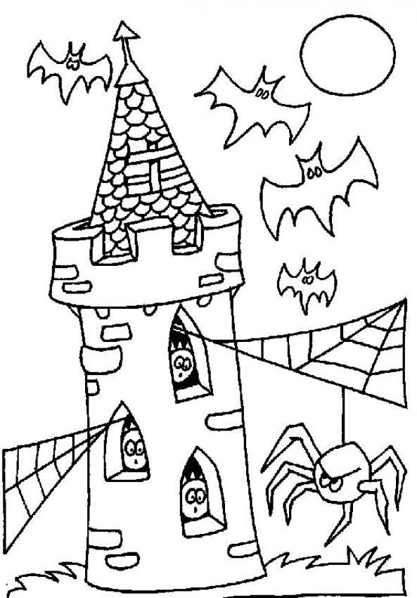 Desenho de um castelo mal assombrado com aranhas e morcegos para colorir