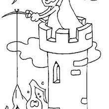 Desenho de fantasmas assombrando um castelo para colorir