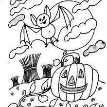 Desenho de uma abóbora do Dia das Bruxas com um morcego para colorir