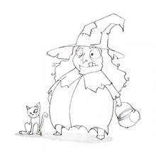 Desenho de uma Bruxa com um gato no Dia das Bruxas