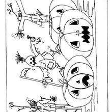 Espantalhos e abóboras do Dia das Bruxas