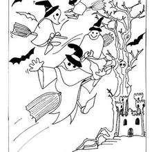 Desenho de fantasmas voando com vassouras para colorir
