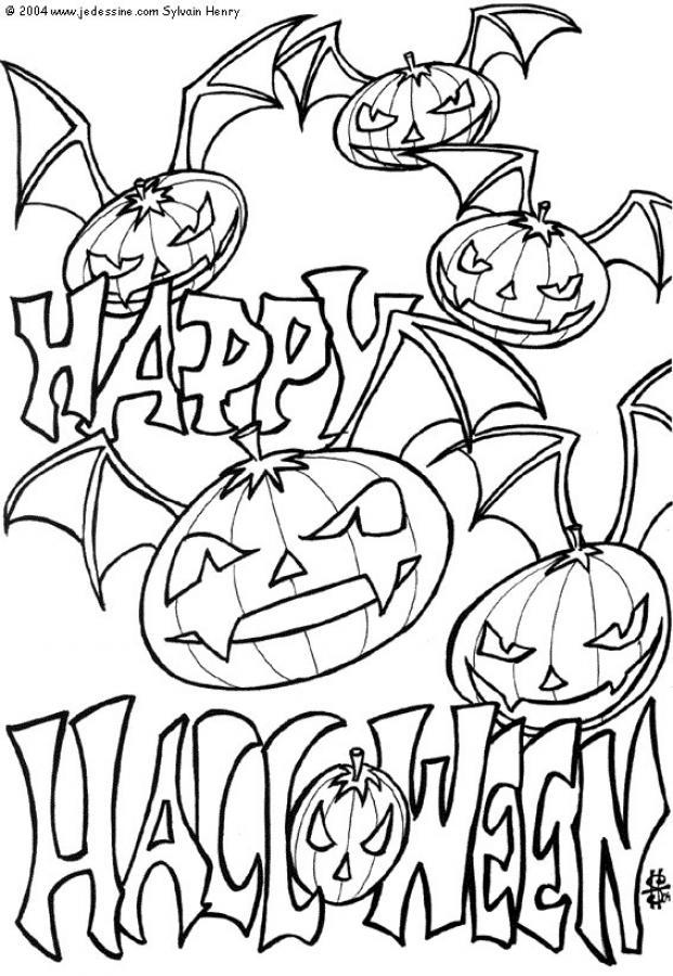 Desenhos Para Colorir De Aboboras Morcego Do Halloween Pt